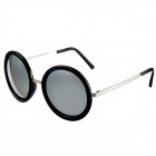 OREKA 10878 Fashion Round Shaped PC Sunglasses - Black + Grey