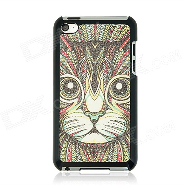 Cat Patterned PC Back Cover Case for IPOD TOUCH 4 - Black + Red