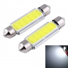 Festoon 42mm 3W COB LED автомобилей настольная лампа белого света 6000K 165lm - серебро + желтый (12/2 PCS)