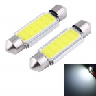 Festoon 39mm 3W COB LED Car Reading Lamps White Light  6000K 165lm - Silver + Yellow (12V / 2 PCS)