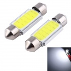 Buy Festoon 36mm 3W COB LED Car Reading Lamps White Light 6000K 165lm - Silver + Yellow (12V / 2 PCS)