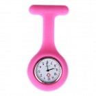 Alloy Case Detachable Silicone Band Quartz Analog Pocket Watch - Deep Pink (1 x 377)