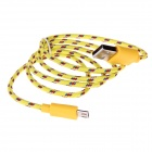 USB 2.0 to Micro USB Data Nylon Cable for Samsung Galaxy S Series - Yellow (1m)