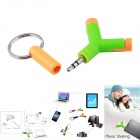 1-to-2 3.5mm Male to Female Audio Sharing Headset Adapter Head - Green + Orange