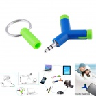 1-to-2 3.5mm Male to Female Music Sharing Headset Adapter Converter - Blue + Green