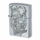 "Portable ""Skull Market"" Design Pocket Zinc Alloy Oil Lighter - Silvery Grey"