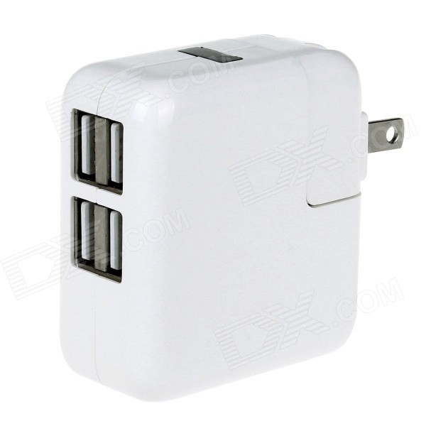3.1A 4-Port USB Power Charger Adapter - White (110~240V / US Plugs)