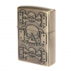 Vintage Skulls Design Pocket Zinc Alloy Oil Lighter - Antique Brass