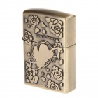 """Love is Beauty"" Design Pocket Zinc Alloy Oil Lighter - Antique Brass"