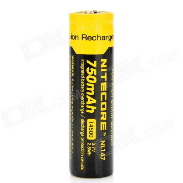 NiteCore Rechargeable Li-ion 3.7V 750mAh 14500 Battery - Black + Yellow
