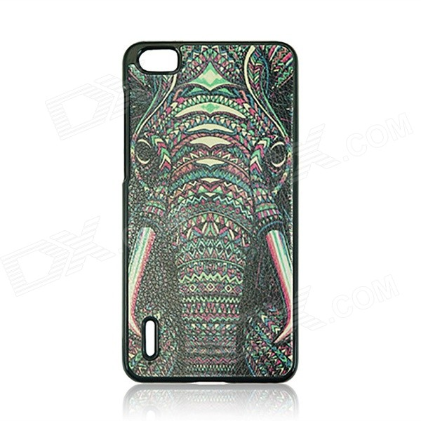 Elephant Pattern PC Back Case for Huawei Honor 6 - Black + Multicolor