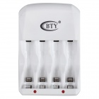 BTY C804U 4-Slot AA / AAA Battery Charger w/ USB - White (US Plug)