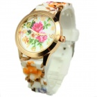 Women's Stylish Colorful Flowers Pattern Silicone Band Quartz Analog Watch - Gold + White (1 x 377)