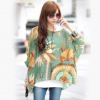 Bohemian Style Hainan Scenery Patterned Casual T-shirt Top - Blue + Yellow (Size M)