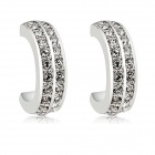 Rshow Crystal Decorated Semi-circle 18K RGP Alloy Ear Studs - Silver (Pair)