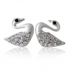 Rshow Crystals Decorated Swan Shaped 18K RGP Alloy Ear Studs Earrings - Silver (Pair)