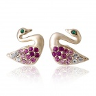 Rshow Crystal Decorated Swan Shaped 18K RGP Alloy Ear Studs Earrings - Gold (Pair)