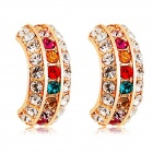 Rshow Colorful Crystal Decorated Arch Shaped Pendant Ear Studs - Gold + Multi-Colored (Pair)