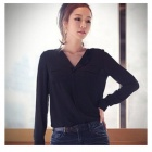 OL Style Long-sleeved V-neck Leisure Chiffon Top Shirt - Black (Size M)