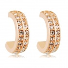 Rshow Crystal Decorated Semi-circle 18K RGP Alloy Ear Studs - Champagne (Pair)