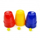 Magic Three Cups + Three Balls Toy - Red + Blue + Multi-Color