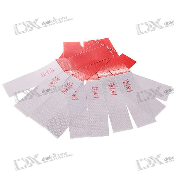 Safety White + Red Reflective Warning Sticker for Vehicles (10-Piece Set)