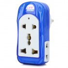 Universal Multi-Function Travelling EU Plug Power Adapter - White + Blue (100~250V)
