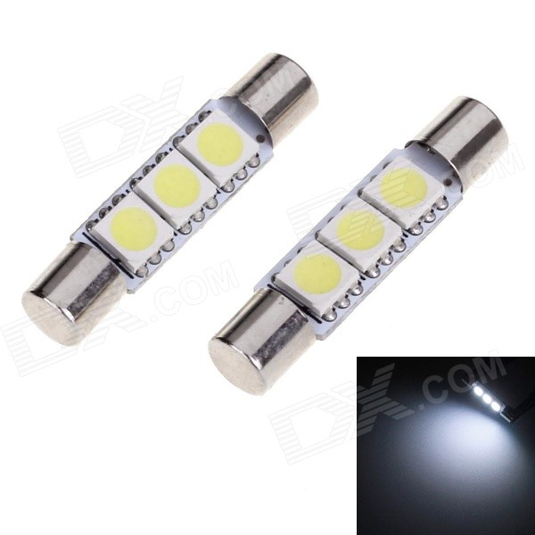 T6 28mm 1W Car Protective Plate Lamp White Light 30lm SMD 5050 (2PCS)