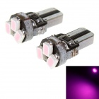 T5 1W LED Car Instrument Lamp Pink Light 635nm 18lm 3-SMD 1206 - Black + Silver (12V / 2 PCS)