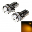 T5 1W LED Car Instrument Lamp 23lm 585nm 3-SMD 1206 Yellow Light (12V / 2 PCS)