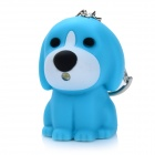 Cute Dog Style 10lm 25000K LED Cool White Light Keychain w/ Sound Effect - Blue (3 x AG3)