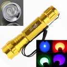 Ultrafire 4-in-1 7W 1-Mode Purple / Red / Green / Blue Light LED Portable Flashlight Torch - Golden