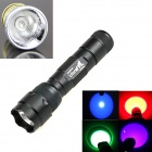 Ultrafire 4-in-1 7W 1-Mode Purple / Red / Green / Blue Light LED Portable Flashlight Torch - Black