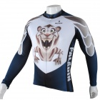 Paladinsport Men's Cute Tiger Print Long-sleeved Cycling Jersey Top - White + Blue (Size XXL)