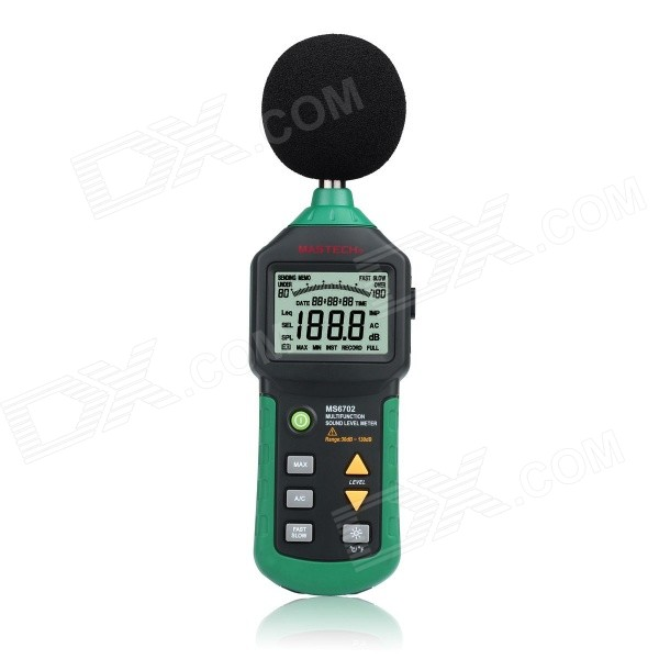 MASTECH MS6702 2.5 LCD Digital Sound Level Meter w/ RS232 - GreenTesters &amp; Detectors<br>Form  ColorGreen + BlackModelMS6702Quantity1 DX.PCM.Model.AttributeModel.UnitMaterialCopper + iron + ABSScreen Size2.5 DX.PCM.Model.AttributeModel.UnitPowered ByAAA BatteryBattery Number6Battery included or notYesCertificationCEPacking List1 x Digital Sound Level Meter1 x English user manual 6 x 1.5V AAA batteries1 x 3.5mm earphone plug1 x Leather box1 x Color box1 x Sponge ball<br>
