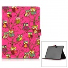 Cute Owl Pattern PU + PC Case w/ Stand + Auto Sleep for IPAD AIR 2 - Deep Pink + Black + Multicolor
