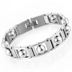 eQute BSSM13C1 Punk Style Lucky Beads Decorated Stainless Steel Bracelet - Silver