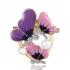 eQute XPEW30C6 Korean Style Trendy Butterfly Pattern Imitation Pearl Scarf Buckle / Brooch - Purple
