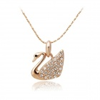 Rshow Elegant Crystals Decorated Swan Shaped Pendant Necklace - Gold