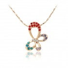 Rshow Exquisite Crystals Decorated Pendant 18K RGP Necklace - Red + Yellow