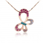 Rshow Exquisite 18K RGP Crystals Decorated Butteryfly Style Pendant Necklace - Purple + Gold