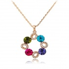 Rshow Colorful Crystals Decorated Pendant Gold-plated Necklace - Gold + Multi-Colored