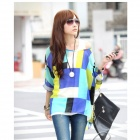 Bohemia Style Long Sleeves Loose Top - White + Azure Green + Multi-Color (M)