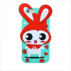 Happy Rabbit Style Protective Silicone Back Case for IPHONE 6 - Blue + Red + Multicolored