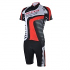 WOLFBIKE BC410-L Men's Breathable Short-Sleeve Cycling Jersey + Pants Suit - Black + Red (L)