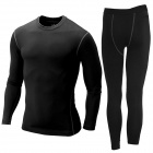 Men's Sports Fitness Tight-Fitting Long-Sleeve Top Shirt + Pants Suit - Black (XL)