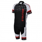 WOLFBIKE BC412-3XL Men's Breathable Short-Sleeve Cycling Jersey + Pants Suit - Black + White (XXXL)