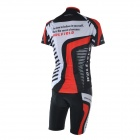 WOLFBIKE BC410-M Men's Cycling Jersey + Pants Suit - Black + Red (M)