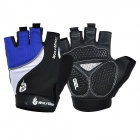 WOLFBIKE Half-Finger Silicone Cycling Gloves - Blue + Black (M)