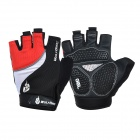 WOLFBIKE Anti-Shock Half-Finger Silicone Cycling Gloves - Red + Black (L / Pair)